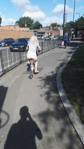 Old lady biking