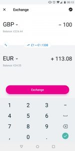 Revolut exchange screen