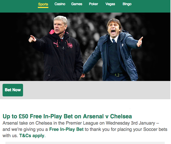 Bet365 free £50 in-play bet