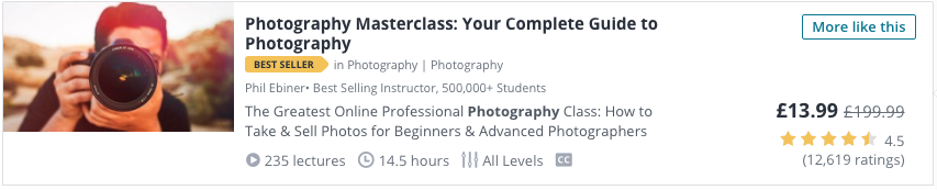 Photography Masterclass Udemy