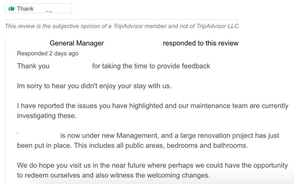 Management reply to a bad comment on TripAdvisor