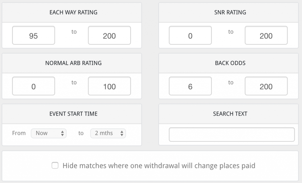 selection criteria each way matched betting