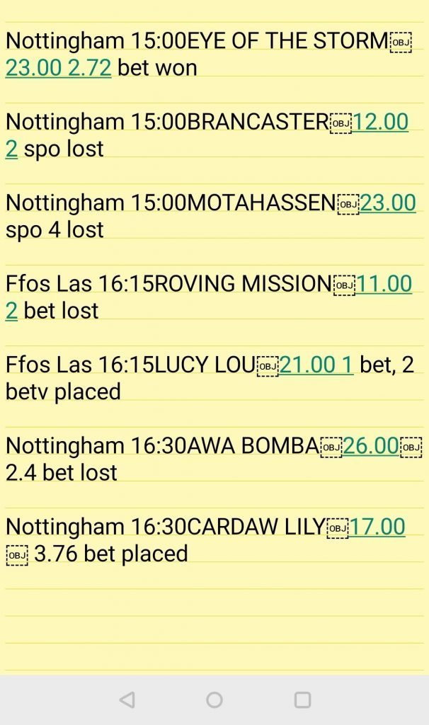 Using Notes app to track my each way betting
