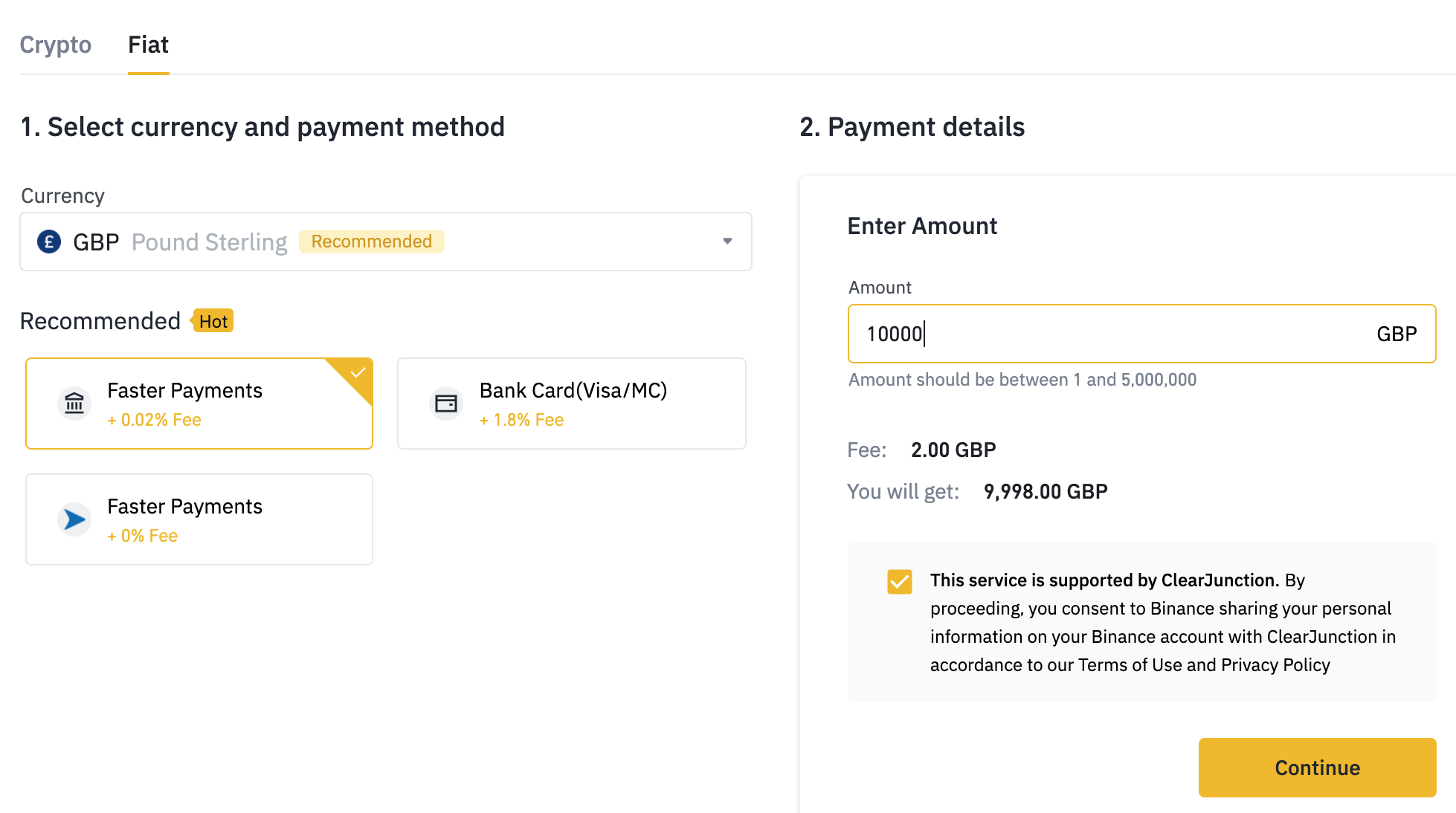 binance enterprise deposit screen